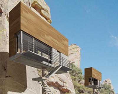 modern cliffside tiny house