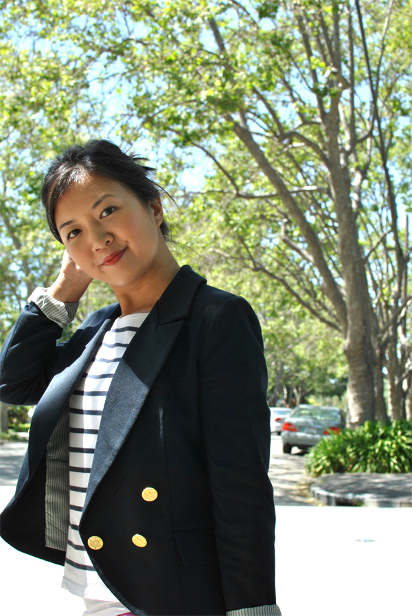 navy blue blazer and stripes