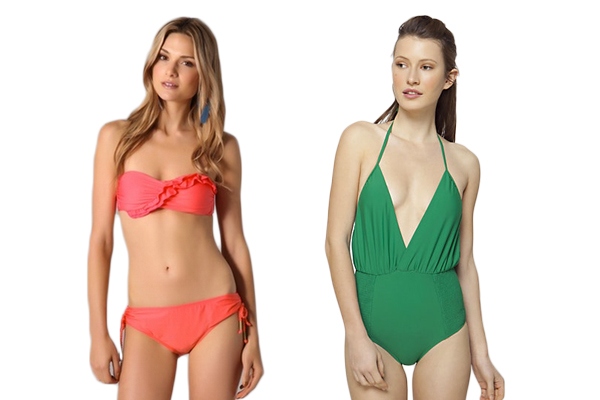coral and green swimsuits