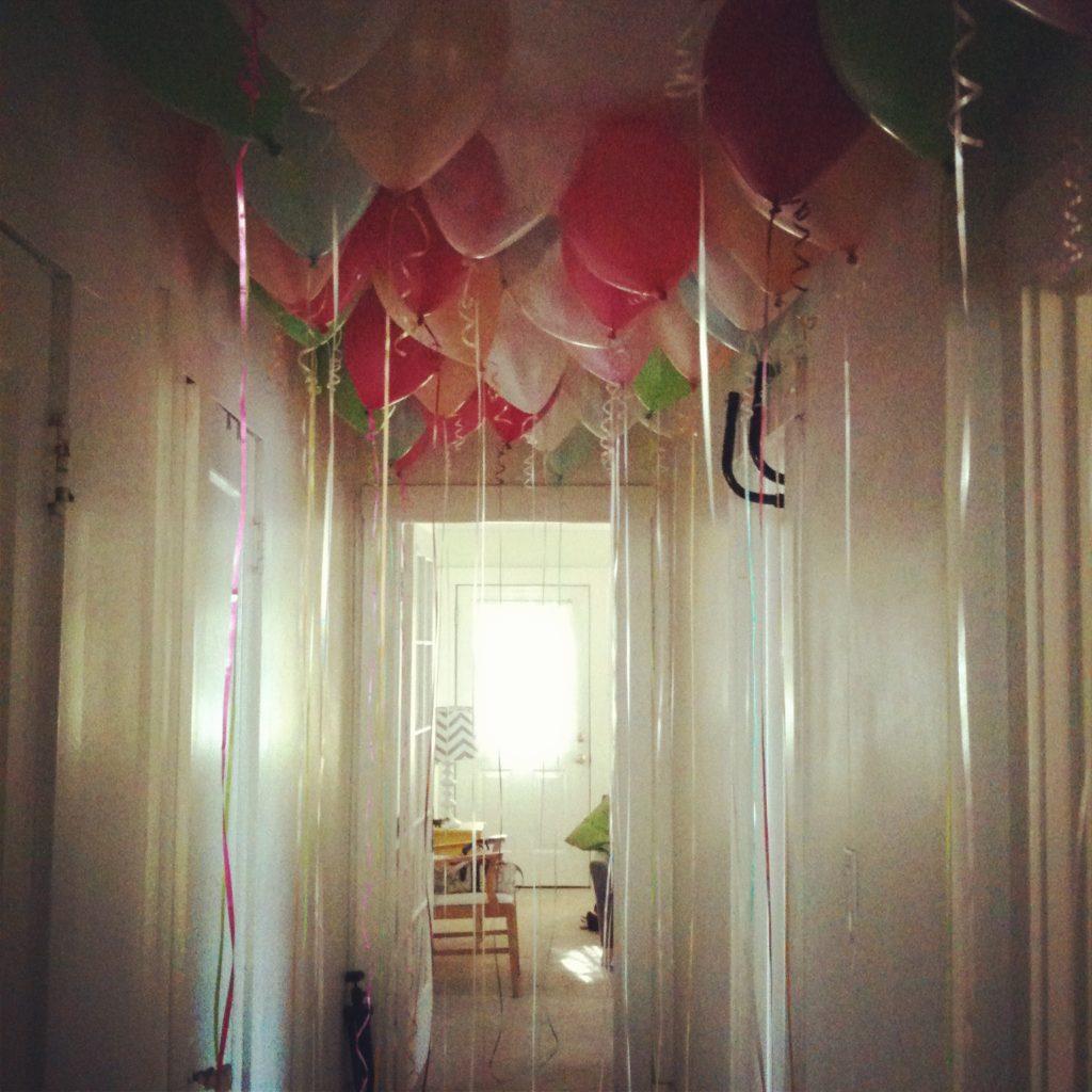 balloon filled hallway