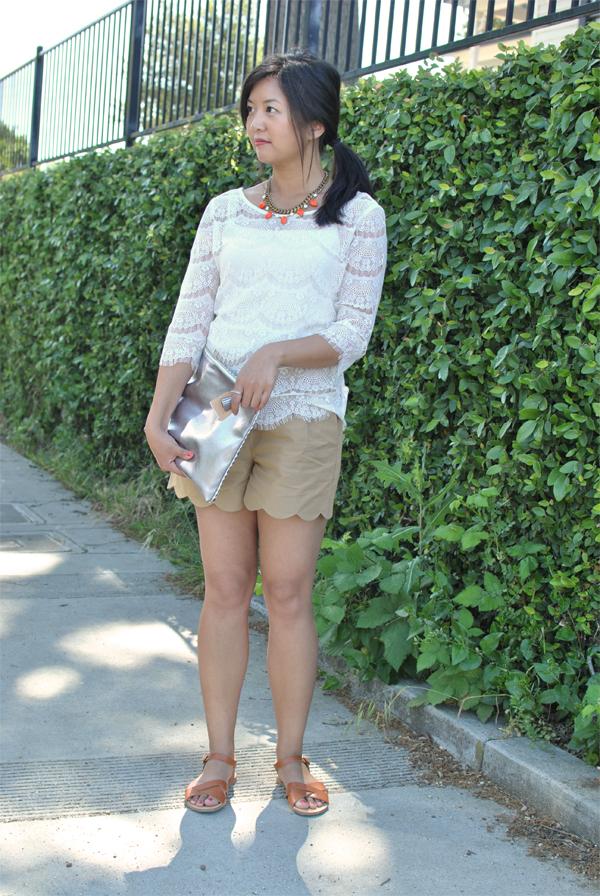lace + khaki scallops