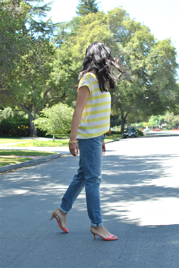 boyfriend jeans, stripes, and heels