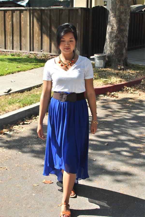 blue asymmetrical high-waisted skirt