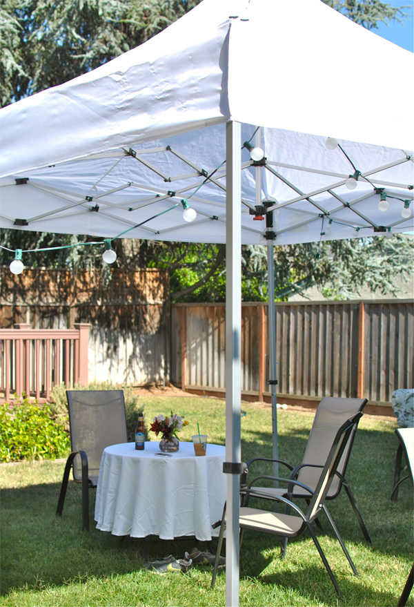 white backyard party tent