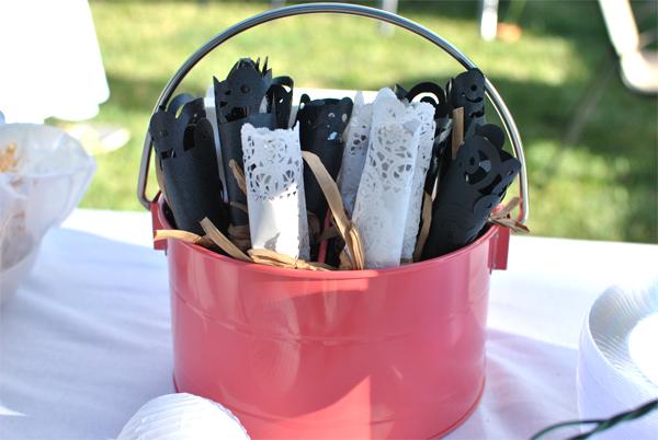doily-wrapped utensils