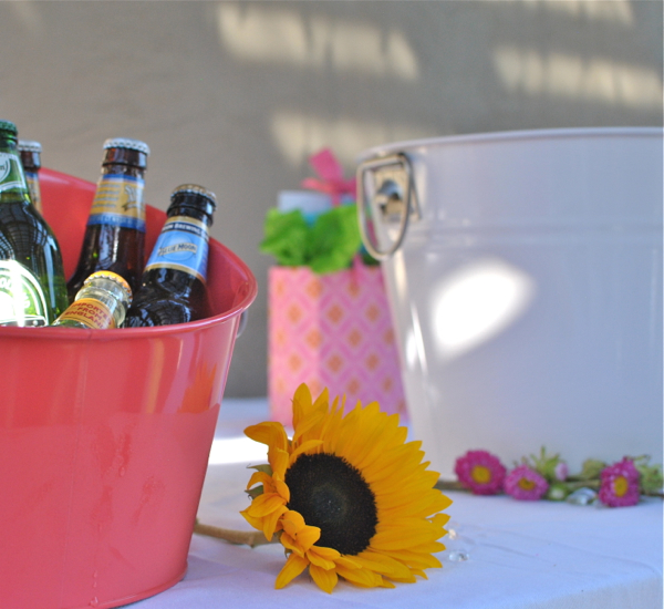 ice buckets and flowers