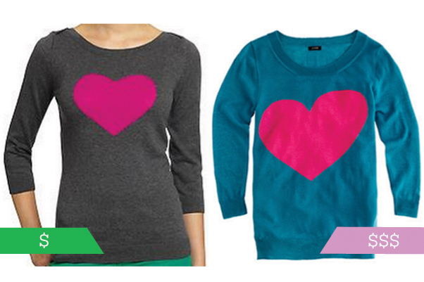 j. crew and old navy heart sweaters