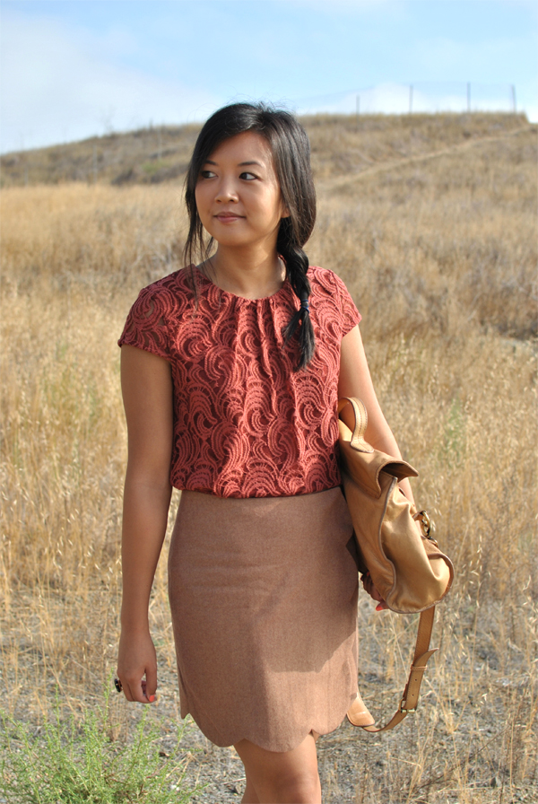 fall outfit: wool and lace
