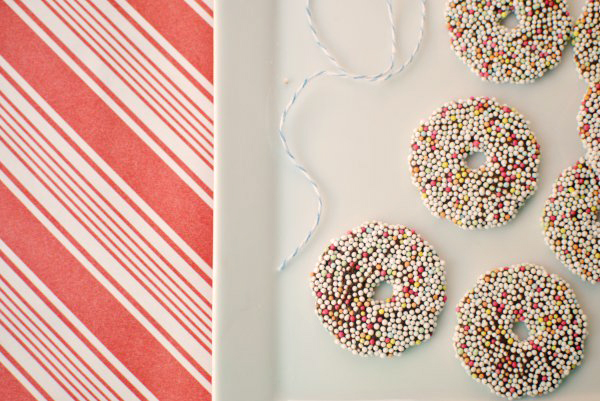 sprinkle-covered chocolate rings