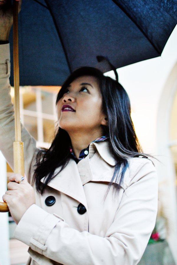 opening an umbrella