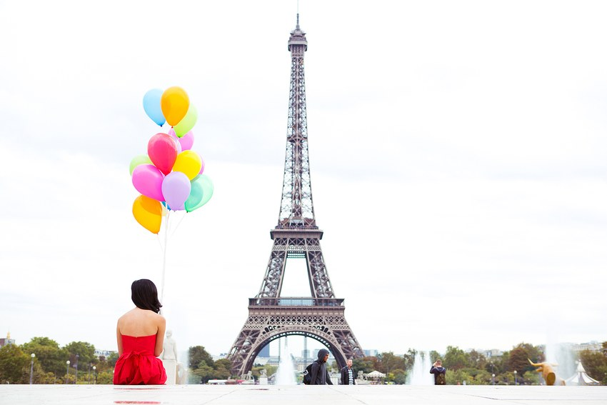 balloons and the eiffel tower by gary pepper