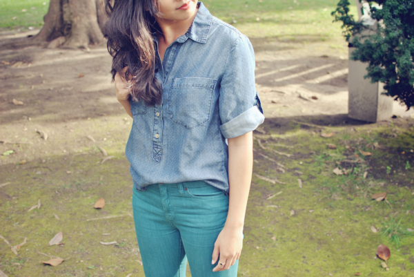 pindot chambray shirt
