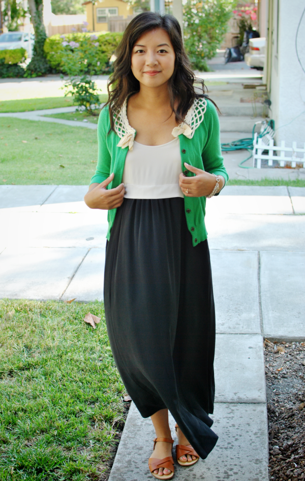 black, white and green outfit