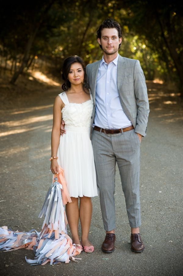 white dress engagement photo