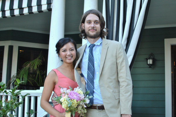 coral and khaki wedding guests