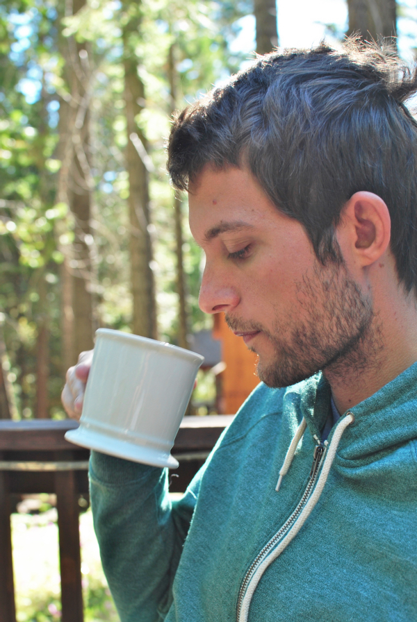drinking coffee in the woods